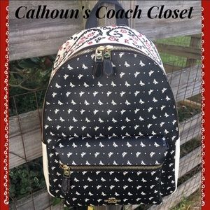 Coach Bandana Black and White Backpack Butterfly